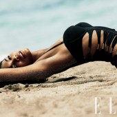 Chanel Iman in VS lycra and nylon swimsuit