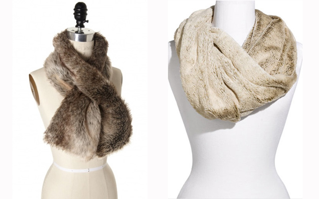 1. Natural Faux Fur Keyhole Scarf, $26.94, thelimited.com 2. Lulu Lush Faux Fur Circle Scarf, $18, Nordstrom