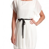 IVORY PLEATED CHIFFON DRESS - Charlotte Russe- $29.99
