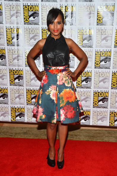 Kerry Washington in a leather bustier by Altuzarra and floral skirt from J.Mendel's Resort 2013 collection
