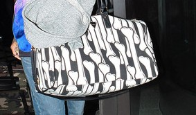 Rihanna with Joyrich Bone Collection Boston Bag