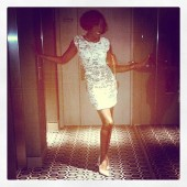 Estelle shines bright in her sparkling mini dress!