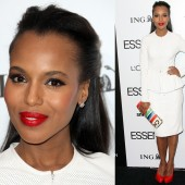 Kerry Washington stuns with her red lips at the 5th Annual ESSENCE Black Women In Hollywood Luncheon.