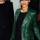"Rihanna rocks this ""Ultramarine Green"" leather jacket."