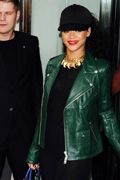 Rihanna rocks this Ultramarine Green leather jacket.