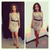 Sanaa Lathan kills it, striking a pose in her form fitting, printed dress.