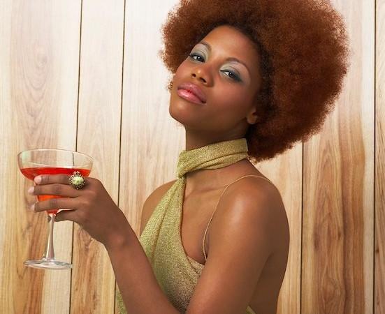 black woman drinking