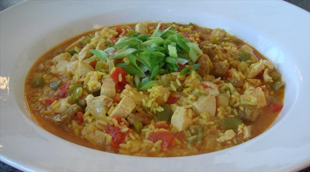 dorm meal chicken and sausage paella