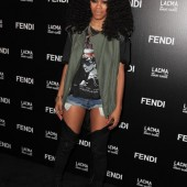 Teyana Taylor shorts and tall boots