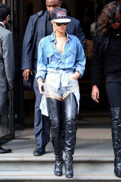 Rihanna shorts and tall boots