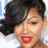 "Meagan Good shows off her red lips at the premiere of ""Think Like a Man"""