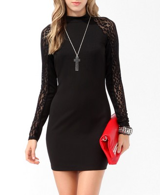 mesh trimmed bodycon dress