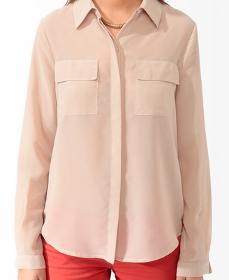 sheer pocket longline shirt