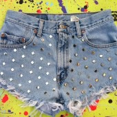 Create your &quot;Sparkle&quot; look with these home-made studded shorts