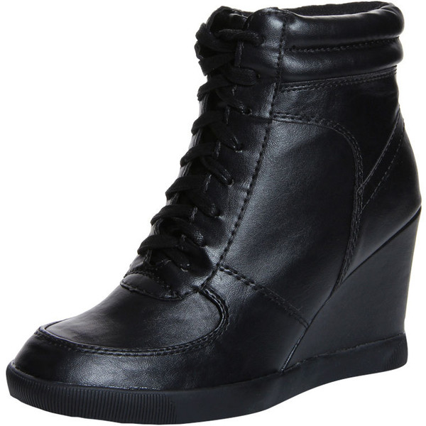 Elyssia Black Leather Look Lace Up Hi Top Wedge $60