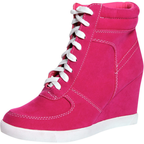 Elyssia Fuchsia Suedette Lace Up Hi Top Wedge $60