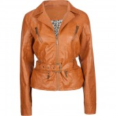 JOU JOU Belted Zip Sleeve Faux Leather Womens Jacket ($40) tillys.com