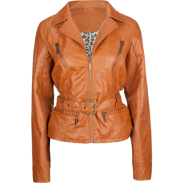 JOU JOU Belted Zip Sleeve Faux Leather Womens Jacket 40 tillys.com