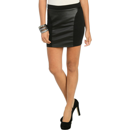 Leatherette Panel Bodycon Skirt 16 wetseal