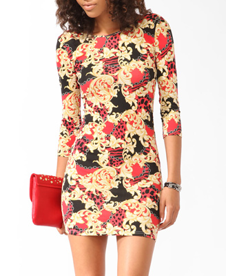 Scarf Print Bodycon Dress $13.80