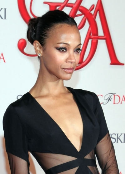 Zoe-Saldana bun