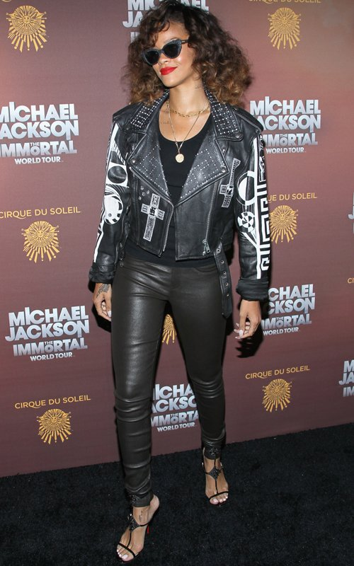 rihanna in leather pants