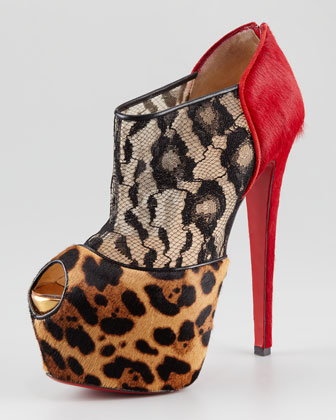 Aeronotoc Calf Hair & Lace Red Sole Bootie $2395