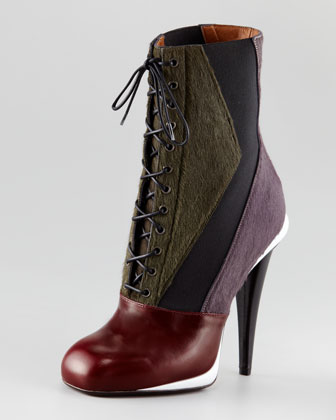 Fendi Victorian Calf Hair Colorblock Bootie $1430