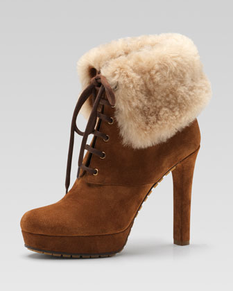Gucci Shearling-ciff Suede Bootie $895