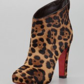 KST Leopard-Print Calf Hair Red Sole Bootie $1395