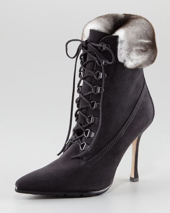 Manolo Blahnik Oklamod Fur-Trim Lace-up Bootie $1175