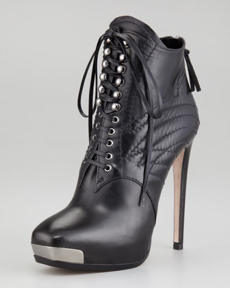 Miu Miu lace-up metal-toe bootie $950