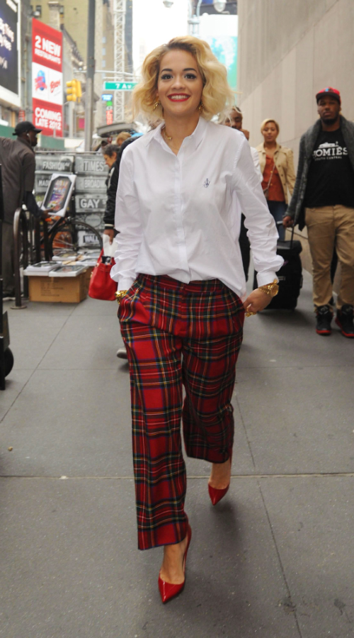 Rita-Oras-MTV-Studios-J_W_-Anderson-for-Topshop-Embroidered-Cotton-Shirt-and-Red-Tartan-Plaid-Pants