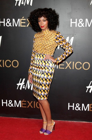 Steal-Solange-Knowless-HM-Sante-Fe-Grand-Opening-HM-Yellow-Silk-Printed-Blouse-and-Jersey-Pencil-Skirt