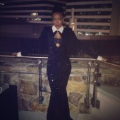 Angela Simmons shows off her amazing suit gown