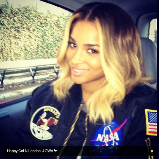 Ciara in Future's flight jacket - Celebrity Instagram