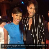 Deynce Lawton and Chanel Iman pose for pictures