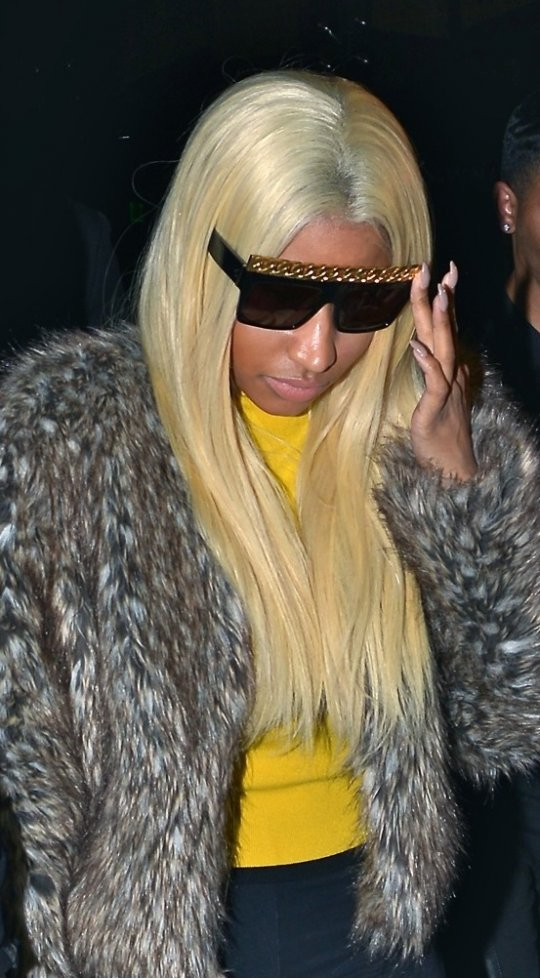 Nicki-Minajs-BOA-Restaurant-Céline-Chain-Sunglasses-and-Giuseppe-Zanotti-Brown-Orange-Suede-Wedge-Sneakers-