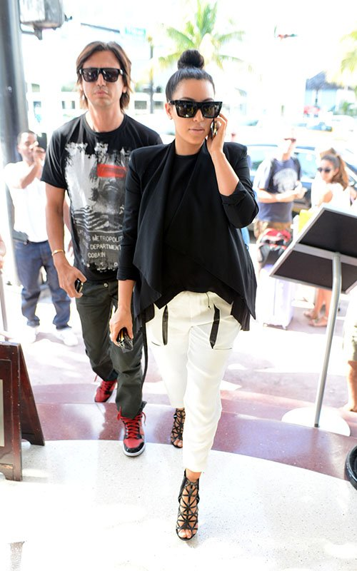 34425c4576e5 Kim Kardashian in Helmut Lang White Drawstring Trousers