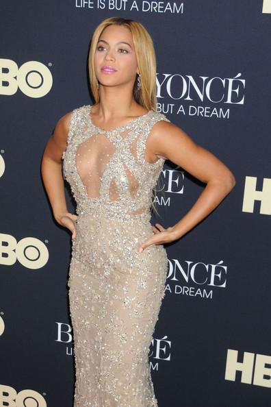 Beyonce Knowles nude beaded dress