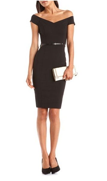 Black - BELTED SWEETHEART MILLENNIUM DRESS - 32.99 - Charlotte Russe