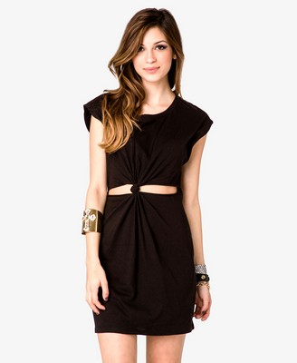Black - Knotted Cutout Dress 13.50 - Forever 21