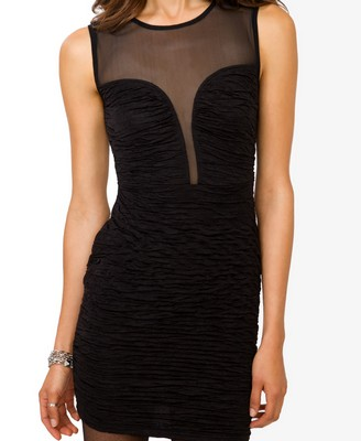 Black - Mesh Back Mattelassé Dress 19.80 - Forever 21