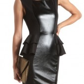 Pleather Inset Peplum Body-Con Dress - $28.99 - Charlotte Russe