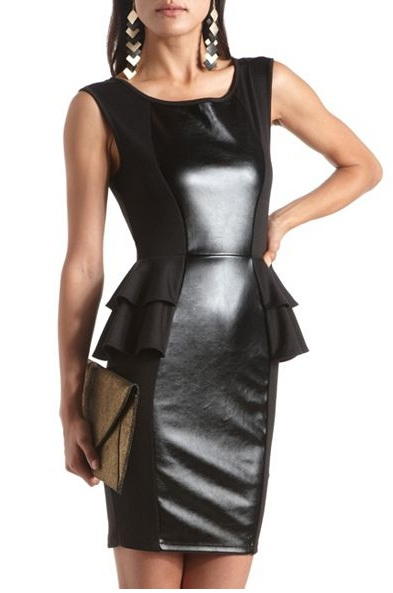 Black - PLEATHER INSET PEPLUM BODY-CON DRESS 28.99 - Charlotte Russe