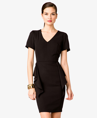 Black - V-Neck Peplum Dress 27.80 - Forever 21