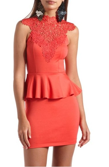 Red - DELICATE LACE-TOP PEPLUM DRESS 28.99 - Charlotte Russe