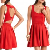 Heart Cutout Scuba Skater Dress - $29.99 - Charlotte Russe