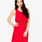 Pleated Georgette Dress w/ Belt - $19.80 - Forever 21