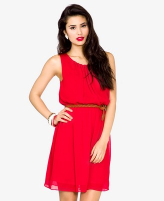Red - Pleated Georgette Dress w- Belt 19.80